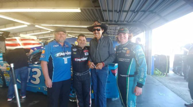 Richard Petty's visit with his grandson & the ERG team at the ARCA Lucas Oil 200, at Daytona International Speedway